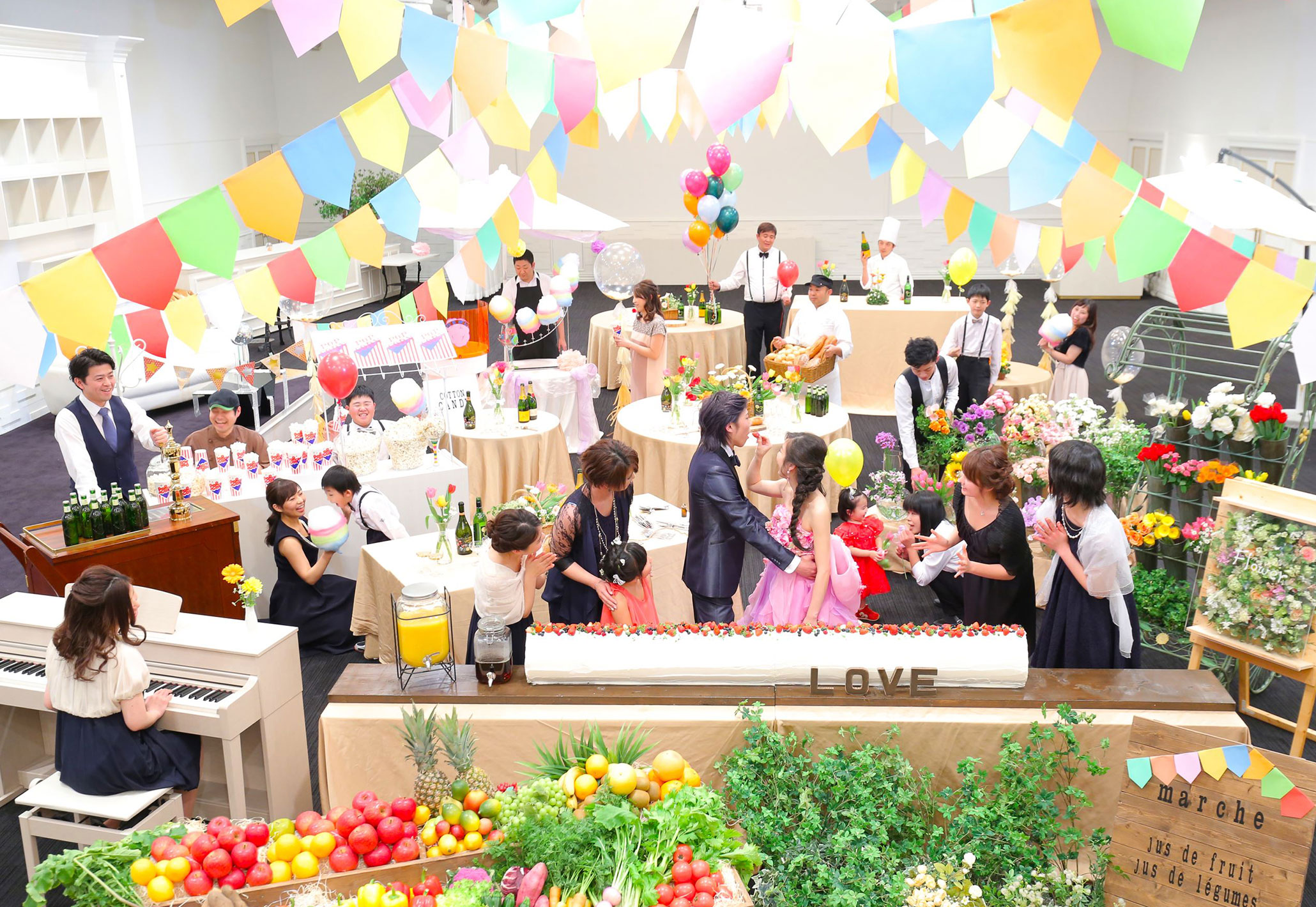 マルシェのように楽しいパーティースペースに|愛媛県松山市の結婚式場ベルフォーレ松山