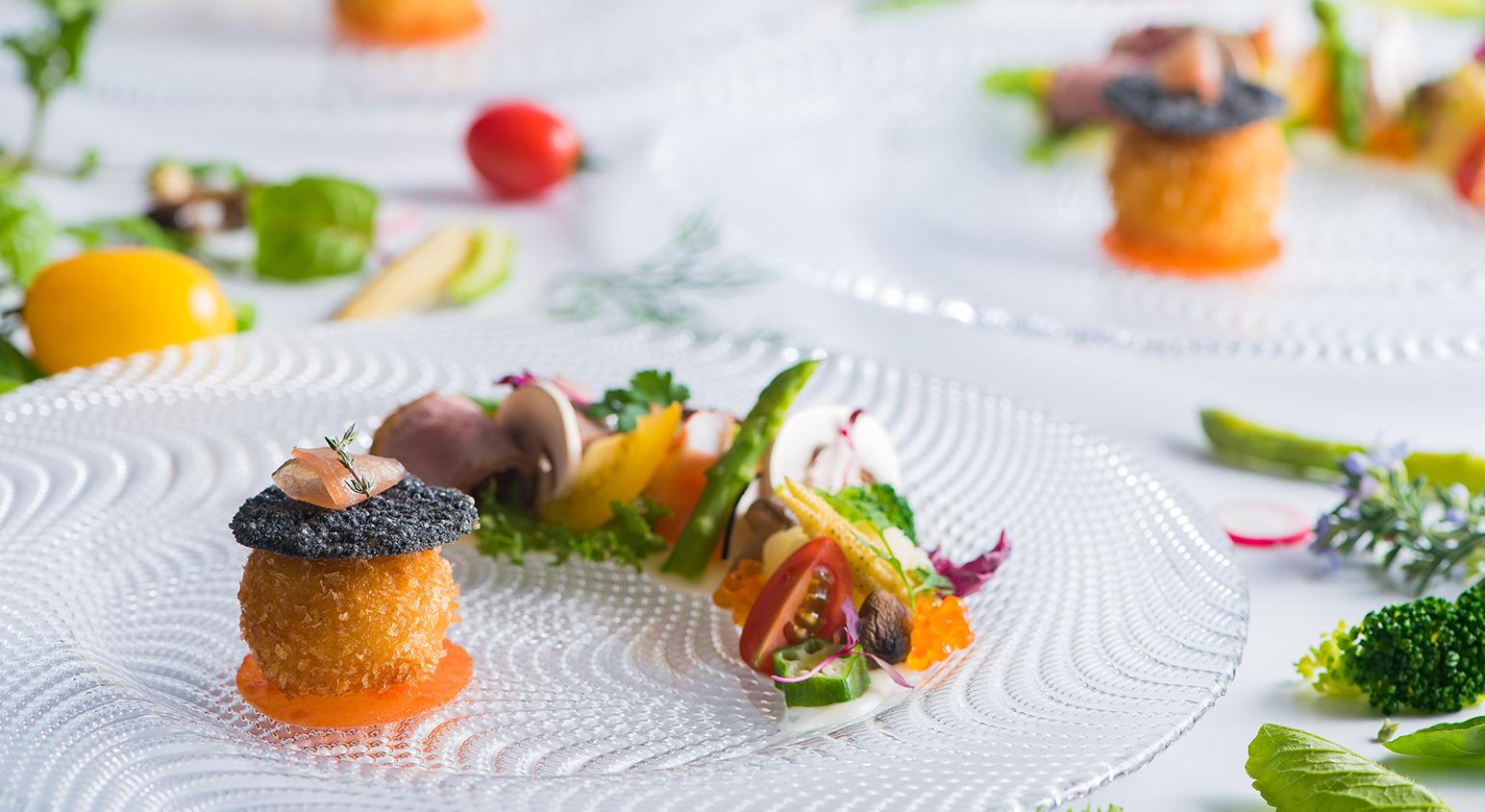 季節野菜にフォアグラのソテー 鴨のグリル 海の幸を添えて | 愛媛県松山市の結婚式場ベルフォーレ松山